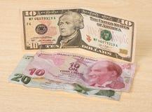 Financial crisis: new dollars over crumpled turkish liras Royalty Free Stock Photos