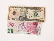 Financial crisis: new dollars over crumpled turkish liras Stock Photos