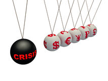 Financial crisis. The pendulum of Newton represents financial crisis Royalty Free Stock Photography