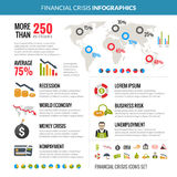 Financial Crisis Recession Statistic Infographics. World global financial crisis and business risk reduction in recession statistic analysis with diagrams Stock Photography