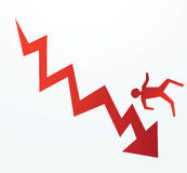 Financial crisis or risk. To illustrate of progress of an down trend economy or corporate fall Royalty Free Stock Image