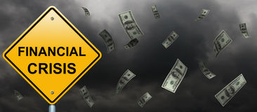 Financial crisis road sign Stock Image
