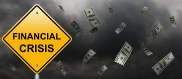 Financial crisis road sign vector illustration