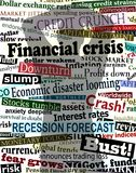 Financial crisis shadow. Background editable  design of economic headlines with man's shadow holding his head in despair Stock Photography