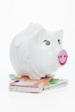 Financial crisis. Sick piggy bank on euro notes. Royalty Free Stock Image