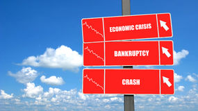 Financial crisis signpost. Conceptual signpost for financial crisis with blue sky and cloudscape background Stock Photos
