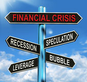 Financial Crisis Signpost Shows Recession Speculation Leverage A. Financial Crisis Signpost Showing Recession Speculation Leverage And Bubble Stock Images