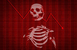 Financial crisis with skeleton and arrow down trend. On stock board Royalty Free Stock Photos