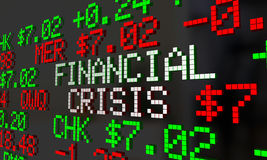 Financial Crisis Stock Market Ticker Words. 2 3d Illustration Royalty Free Stock Photo