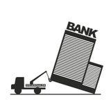 Financial crisis symbol. Hauler tows ailing bank as a metaphor Royalty Free Stock Photo