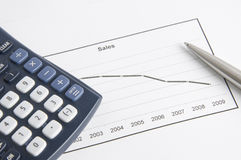 Financial crisis up till now. Sales chart showing falling trend with numbers plunging. On top of the paper there's an electronic calculator and a pen. Financial Stock Images