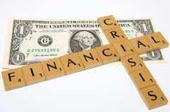 Financial Crisis in USA. Financial Crisis - Symbol made with scrabble Stock Photography