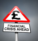 Financial crisis warning. Illustration depicting red and white triangular warning road sign with a financial crisis concept. Blurred dark background Stock Images