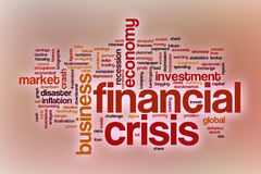Financial crisis word cloud with abstract background Royalty Free Stock Photography
