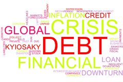 Financial crisis word cloud royalty free stock image