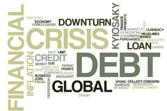 Financial crisis word cloud stock photography