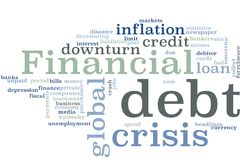 Financial crisis word cloud stock image