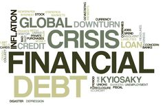 Financial crisis word cloud stock photo