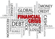 Financial Crisis Word Cloud Illustration. Financial Crisis 3D in Red Word Cloud Illustration Isolated on White Background Stock Images