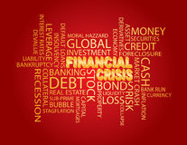 Financial Crisis Word Cloud Red Background. Financial Crisis 3D in Gold Word Cloud Illustration  on Red Background Stock Photo