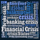 Financial crisis word cloud. On white background Royalty Free Stock Photos