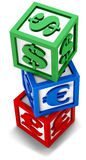 Financial cubes. Alphabet blocks with currency signs Stock Photography
