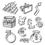 Financial & Currency Icon Set. An icon set of currency and finanical elements in sketch style. It contains hi-res JPG, PDF and Illustrator 9 files Stock Photography