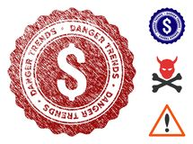 Financial Danger Trends Seal with Scratched Surface. Financial Danger Trends grunge round stamp with warning icon. Vector red seal with grungy style for rubber vector illustration