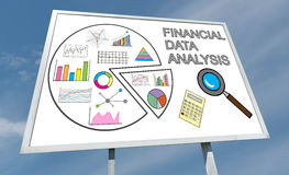 Financial data analysis concept on a billboard Royalty Free Stock Photography