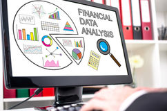 Financial data analysis concept on a computer screen Royalty Free Stock Images