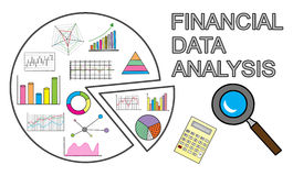 Financial data analysis concept on white background. Financial data analysis concept drawn on a white background Royalty Free Stock Images