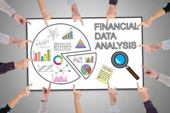 Financial data analysis concept on a whiteboard Stock Image