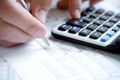 Financial data analyzing. Stock Photo