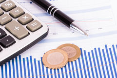 Financial Data Bar Chart Graphs and Analysis Stock Images