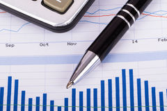 Financial Data Bar Chart Graphs and Analysis Stock Image