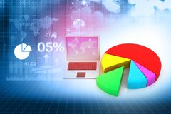 Financial data chart on laptop. Digital marking concept. 3d render Royalty Free Stock Images