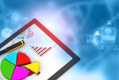 Financial data chart on laptop. Digital marking concept. 3d render Royalty Free Stock Image