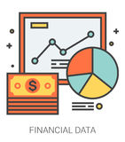 Financial data line icons. Financial data infographic metaphor with line icons. Project financial data concept for website and infographics. Vector line art Royalty Free Stock Photos