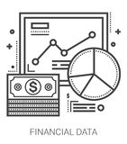 Financial data line icons. Financial data infographic metaphor with line icons. Project financial data concept for website and infographics. Vector line art Stock Images