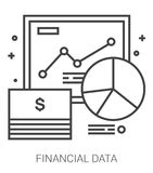 Financial data line infographic. Financial data infographic metaphor with line icons. Project financial data concept for website and infographics. Vector line Stock Image