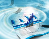 Financial data and magnifying glass Royalty Free Stock Images