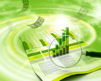 Financial data and magnifying glass Stock Photo