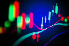 Financial data on a monitor,candle stick graph of stock market , Stock Photography