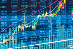 Financial data on a monitor,candle stick graph of stock market , Stock Image