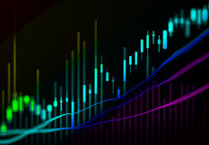 Financial data on a monitor,candle stick graph of stock market , Stock Photo