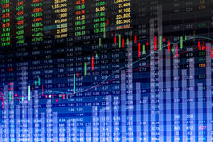 Financial data on a monitor,Stock market data on LED display con Royalty Free Stock Image