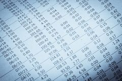 Financial data in a newspaper Stock Images