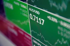 Financial data on PC screen Stock Image