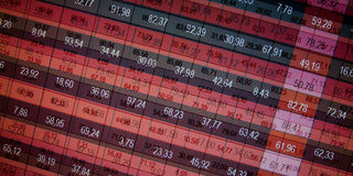 Financial data- stock exchange. Red screen symbolizes losses Stock Images