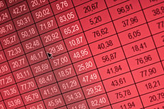 Financial data- stock exchange, red screen crysis. Financial data- stock exchange - red screen for the losses Stock Image